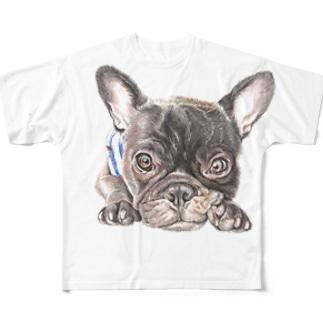 見つめるフレンチブルドッグ Full graphic T-shirts