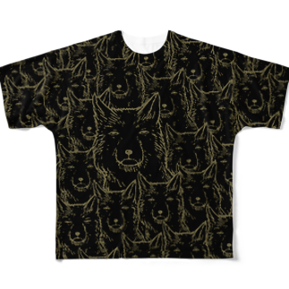 PygmyCat suzuri店のチベットスナギツネ_虚無ゴールド Full graphic T-shirts
