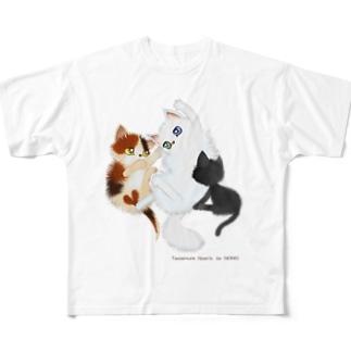たわむれニャンズ Full graphic T-shirts