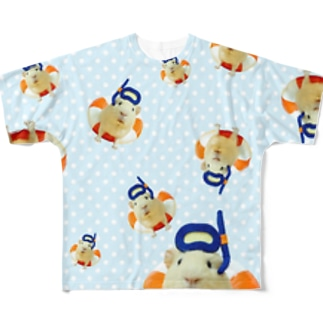 浮き輪のモルモット Full graphic T-shirts