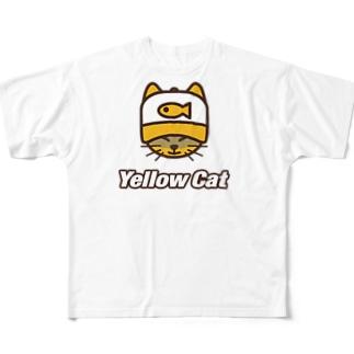 イエローキャット ミミ帽子 Full graphic T-shirts