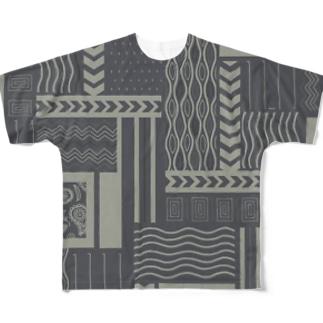 古着っぽい柄 Full graphic T-shirts