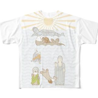 ラッコ+仏像 Full graphic T-shirts