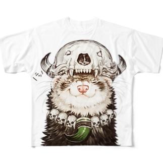 チャリティグッズ*先祖の頭骨を頭に乗せたフェレットちゃん Full graphic T-shirts
