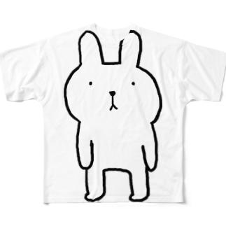 ふつウサ直立 Full graphic T-shirts