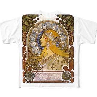 黄道十二宮  (ZODIAQUE) アルフォンス ミュシャ Full graphic T-shirts