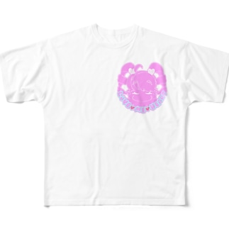 love me heart(ピンク) Full graphic T-shirts