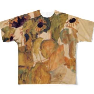 エゴンシーレ ひまわり 1911 アート系 Full graphic T-shirts