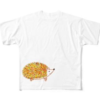 秋のハリネズミ Full graphic T-shirts