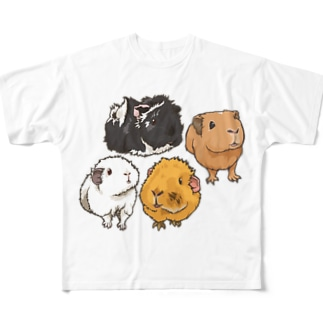 キャメルちゃん、ぷーちゃん、エルザちゃん、アスタちゃん Full graphic T-shirts