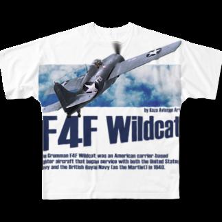kazu Aviation ArtのF4F ワイルドキャット Full graphic T-shirts