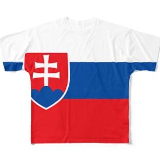 スロバキア国旗 全柄 Full graphic T-shirts