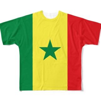 セネガル国旗 全柄 Full graphic T-shirts