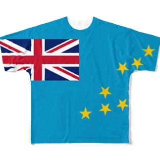ツバル国旗 全柄 Full graphic T-shirts