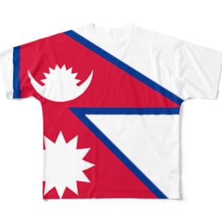 ネパール国旗 全柄 Full graphic T-shirts