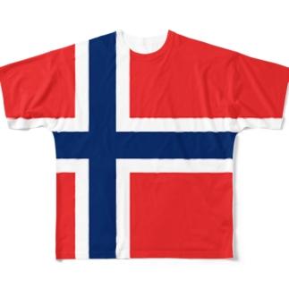ノルウェー国旗 全柄 Full graphic T-shirts