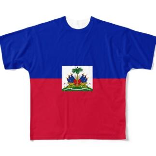 ハイチ国旗 全柄 Full graphic T-shirts