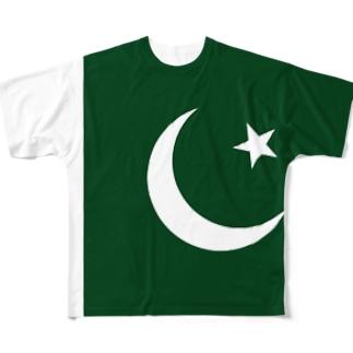 パキスタン国旗 全柄 Full graphic T-shirts