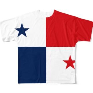 パナマ国旗 全柄 Full graphic T-shirts