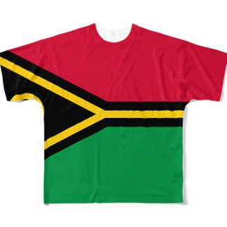 バヌアツ国旗 全柄 Full graphic T-shirts