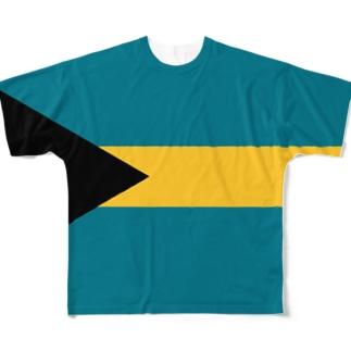 バハマ国旗 全柄 Full graphic T-shirts