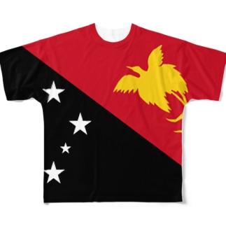 パプアニューギニア国旗 全柄 Full graphic T-shirts