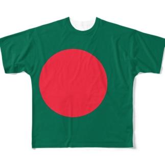 バングラデシュ国旗 全柄 Full graphic T-shirts