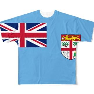 フィジー国旗 全柄 Full graphic T-shirts