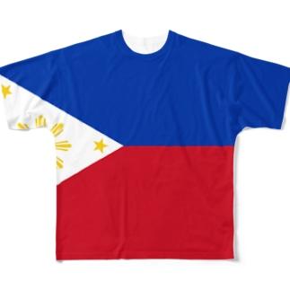 フィリピン国旗 全柄 Full graphic T-shirts