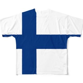 フィンランド国旗 全柄 Full graphic T-shirts