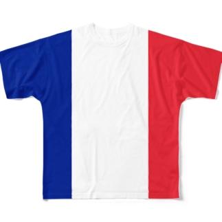 フランス国旗 全柄 Full graphic T-shirts
