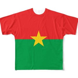 ブルキナファソ国旗 全柄 Full graphic T-shirts