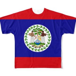 ベリーズ国旗 全柄 Full graphic T-shirts