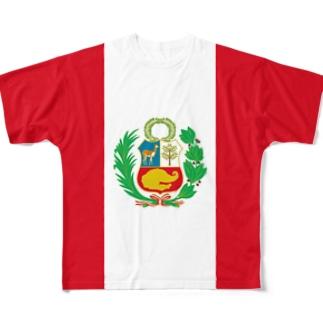 ペルー国旗 全柄 Full graphic T-shirts