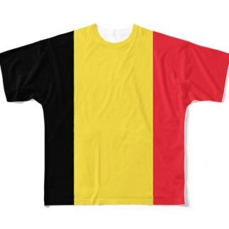 大のベルギー国旗 全柄 Full graphic T-shirts