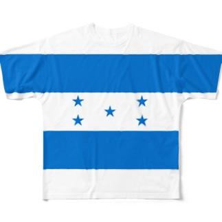 ホンジュラス国旗 全柄 Full graphic T-shirts