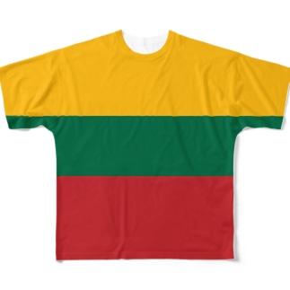 リトアニア国旗 全柄 Full graphic T-shirts