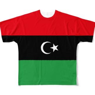 リビア国旗 全柄 Full graphic T-shirts