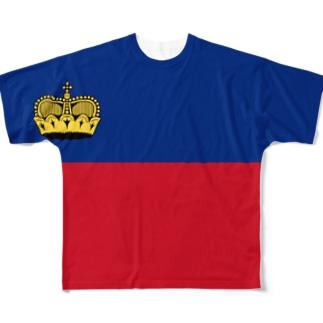 リヒテンシュタイン国旗 全柄 Full graphic T-shirts