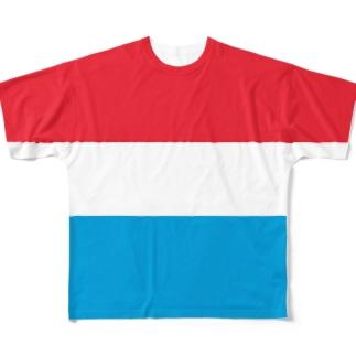 ルクセンブルク国旗 全柄 Full graphic T-shirts