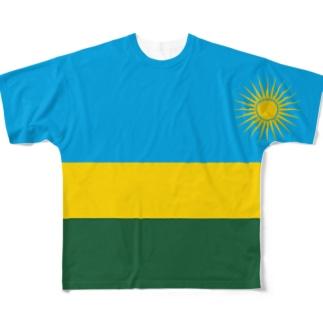 ルワンダ国旗 全柄 Full graphic T-shirts