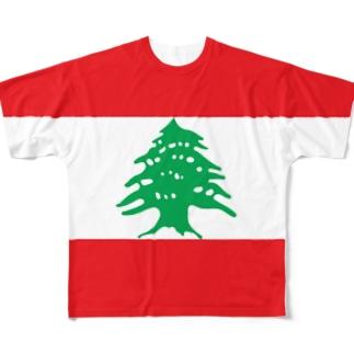 レバノン国旗 全柄 Full graphic T-shirts