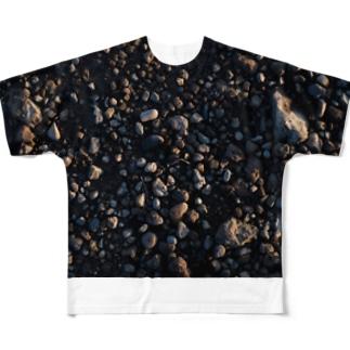朝日を受ける石粒たち Full graphic T-shirts