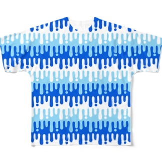 melty border(blue) Full graphic T-shirts