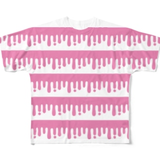 melty border(B/pink) Full graphic T-shirts