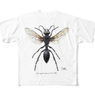 クロアナバチ Sphex argentatus fumosus  Full graphic T-shirts