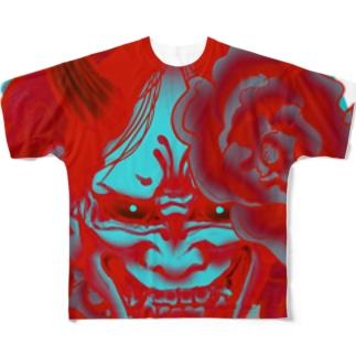阿吽の般若ー吽ー Full graphic T-shirts