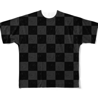 トリンちゃんチェッカー灰 Full graphic T-shirts