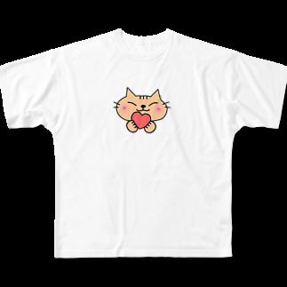 eigoyaのハートと茶トラ猫 Full graphic T-shirts