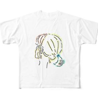 うしろ姿のポニーテール Full graphic T-shirts